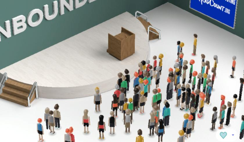Screen shot of HubSpot's virtual conference with avatars